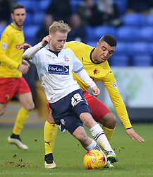 Bolton Wanderers'  Barry Bannan competes with Watford's Troy Deeney - Photo mandatory by-line: Richard Martin-Roberts/JMP - Mobile: 07966 386802 - 14/02/2015 - SPORT - Football - Bolton - Macron Stadium - Bolton Wanderers v Watford - Sky Bet Championship