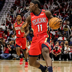 Oct 19, 2018; New Orleans, LA, USA; New Orleans Pelicans guard Jrue Holiday (11) during the first half at the Smoothie King Center. The Pelicans defeated the Kings 149-129. Mandatory Credit: Derick E. Hingle-USA TODAY Sports