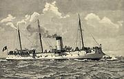 French navy's torpedo cruiser 'Condor', engraving 1889.