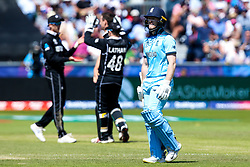 Eoin Morgan of England cuts a dejected figure after getting out Matt Henry of New Zealand - Mandatory by-line: Robbie Stephenson/JMP - 03/07/2019 - CRICKET - Emirates Riverside - Chester-le-Street, England - England v New Zealand - ICC Cricket World Cup 2019 - Group Stage