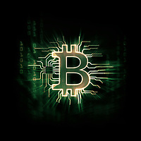 Glowing green Bitcoin ₿ cryptocurrency, digital decentralized currency symbol, conceptual illustration of a bitcoin connected to a blockchain network matrix