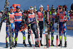 Second placec, Renaud Jay/Sabastian Eisnlaier (FRA), Winners Frederico Pellegrino/Dietmar Noeckler (ITA) and Third placed, Richard Jouve/Valentin Chauvin (FRA) during the Man team sprint race at FIS Cross Country World Cup Planica 2016, on January 17, 2016 at Planica, Slovenia. Photo By Urban Urbanc / Sportida