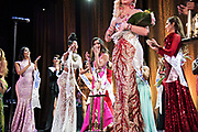 LOS ANGELES, CA - OCTOBER 22, 2016:  <br /> <br /> California's Kataluna Enriquez (center) reacts as she's announces as the winner of the Transnation Queen USA 2016 pageant, a transgender beauty pageant held at The Theater at The Ace Hotel in downtown Los Angeles.<br /> <br /> (Melissa Lyttle for The Guardian)