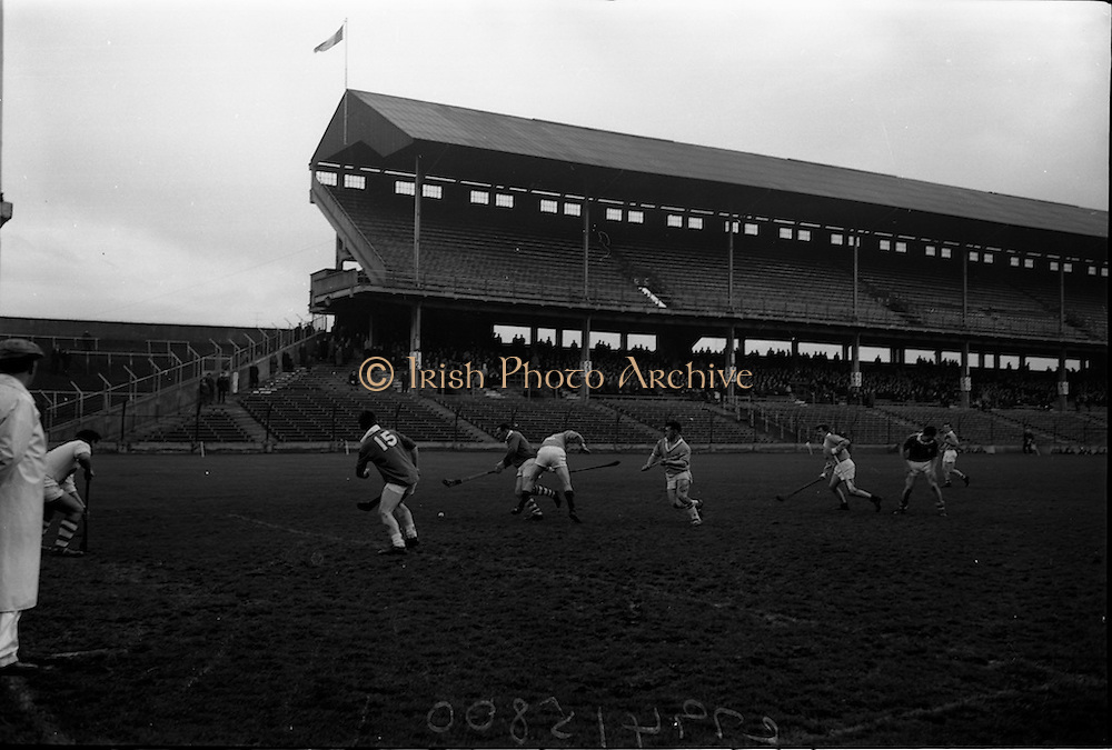 26/02/1967<br /> 02/26/1967<br /> 26 February 1967<br /> Railway Cup Semi-Finals: Ulster v Munster at Croke Park, Dublin.<br /> S. Barry, J. McKenna, and T. Bluett all ready to flash in on the ball as it comes into the Ulster square; but J. Kirk was fast with his hand and plucked it from the air to clear.