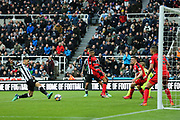 Ayoze Perez (#17) of Newcastle United scores Newcastle United's first goal (1-0) during the Premier League match between Newcastle United and Huddersfield Town at St. James's Park, Newcastle, England on 31 March 2018. Picture by Craig Doyle.