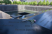 Names of victims at the 9/11 Memorial in New York, killed at the locations of terrorist attacks on September 11th 2001. The National September 11 Memorial is a tribute of remembrance and honor to the nearly 3,000 people killed in the terror attacks of September 11, 2001 at the World Trade Center site, near Shanksville, Pa., and at the Pentagon, as well as the six people killed in the World Trade Center bombing in February 1993.