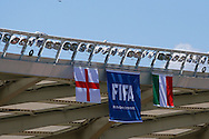 The England and Italy flags fly at the Arena da Amazonia, Manaus<br /> Picture by Andrew Tobin/Focus Images Ltd +44 7710 761829<br /> 13/06/2014