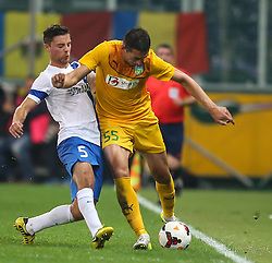 31.07.2014, Red Bull Arena, AUT, UEFA EL Qualifikation, FC Groedig vs FC Zimbru Chisinau, dritte Runde, Hinspiel, im Bild Timo Brauer, (SV Scholz Groedig, #5) und Serghei Alexeev, (FC Zimbru Chisinau, #55) // during UEFA Europe League Qualifier first leg 3rd round match between FC Groedig and FC Zimbru Chisinau at the Red Bull Arena in Salzburg, Austria on 2014/07/31. EXPA Pictures © 2014, PhotoCredit: EXPA/ Roland Hackl