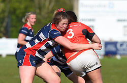 Amelia Buckland-Hurry of Bristol Ladies tackles Geri Thomas of Saracens Women - Mandatory by-line: Paul Knight/JMP - 09/04/2017 - RUGBY - Cleve RFC - Bristol, England - Bristol Ladies v Saracens Women - RFU Women's Premiership Play-off Semi-Final