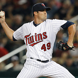 February 27, 2011; Fort Myers, FL, USA; Minnesota Twins relief pitcher Jeff Manship (49) during a spring training exhibition game against the Boston Red Sox at Hammond Stadium.  Mandatory Credit: Derick E. Hingle