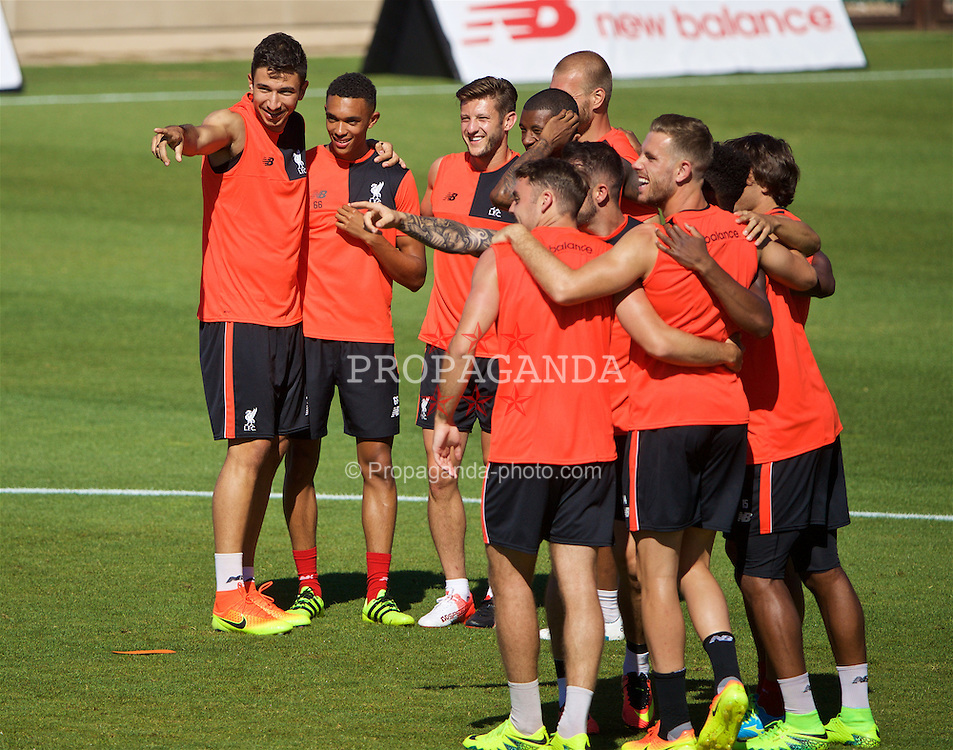 STANFORD, USA - Saturday, July 23, 2016: Liverpool's Marko Grujic, Trent Alexander-Arnold and Adam Lallana during a training session in the Laird Q. Cagan Stadium at Stanford University on day one of the club's USA Pre-season Tour. (Pic by David Rawcliffe/Propaganda)