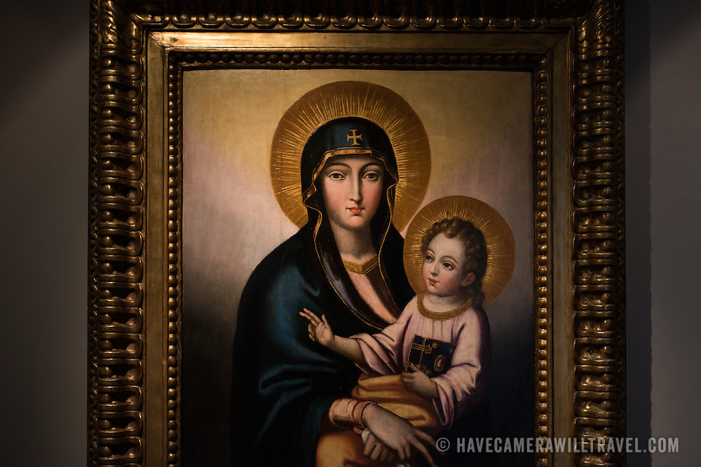 A late-16th century oil on wood painting of Madonna del Popollo. The Museu de São Roque is a museum attached to the the Igreja de Sao Roque to display various historical religious artefacts from the church. The 16th century Igreja de São Roque was one of the earliest Jesuit churches in Christendom and features a series of ornately decorated Baroque chapels.