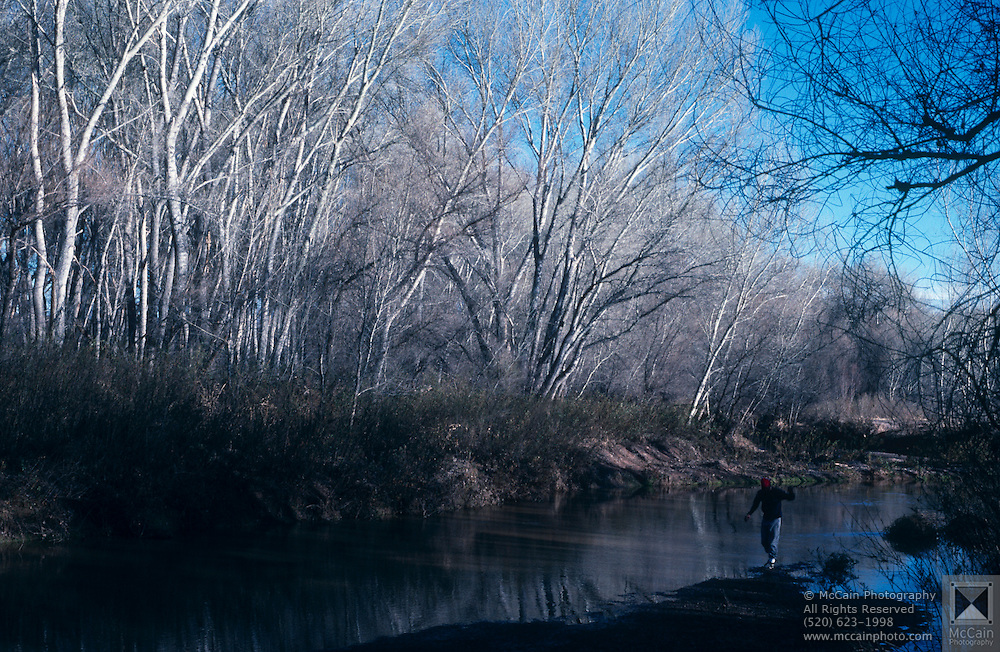 Hiker, San Pedro River, cottonwood trees San Pedro Riparian National Conservation Area, Arizona.©1989 Edward McCain. All rights reserved. McCain Photography, McCain Creative, Inc.