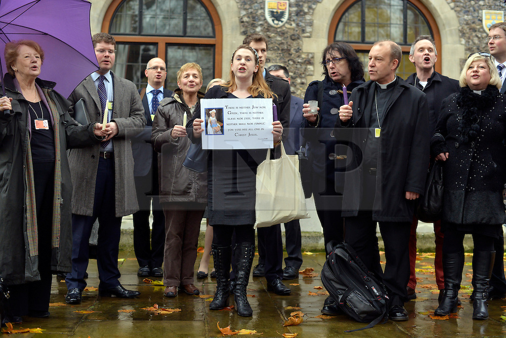 © Licensed to London News Pictures. 21/11/2012. westminster, UK A vigel at Church House in Westminster today 21 November 2012, Candles were not lit and will not be lit until women are ordained as priests. London for day three of the three-day Church of England General Synod. Members last night voted against ordaining women as priests.. Photo credit : Stephen Simpson/LNP