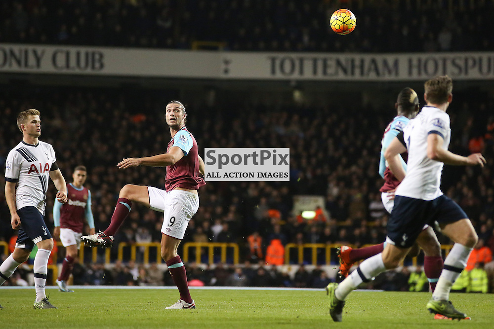 Andy Carroll heads the ball During Tottenham Hotspur vs West Ham United on Sunday the 22nd November 2015.