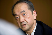 Michitaka Nakatomi, president of Japan External Trade Organization (JETRO), speaks during an interview at the organization's headquarters in Tokyo, Japan on Thursday 17 Aug. 2010..Photographer: Robert Gilhooly