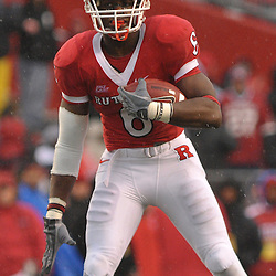 Dec 5, 2009; Piscataway, NJ, USA; Rutgers wide receiver Mohamed Sanu (6) catches a pass during second half NCAA Big East college football action in West Virginia's 24-21 victory over Rutgers at Rutgers Stadium.