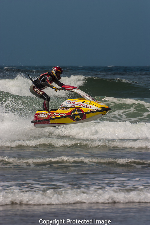 "Stand-up jet skier  Darin Anderson, known as ""Air Darin"" performs huge flips and other free ride combinations"