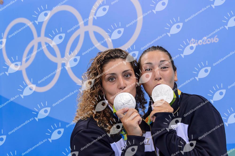 AIELLO Rosaria, RADICCHI Federica <br /> Rio de Janeiro 19-08-2016 Olympic Aquatics Stadium  - Water Polo <br /> Medal Ceremony <br /> Foto Andrea Staccioli/Deepbluemedia/Insidefoto