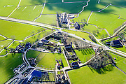 Nederland, Friesland, gemeente Dongeradeel, 28-02-2016; Foudgum met boerderijen-kring rond de romaanse Mariakerk.<br /> Small village, farms in circle around the church, very North of Friesland.<br />  <br /> luchtfoto (toeslag op standard tarieven);<br /> aerial photo (additional fee required);<br /> copyright foto/photo Siebe Swart
