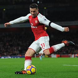 Sead Kolasinac of Arsenal puts in a cross during Arsenal vs Huddersfield, Premier League, 29.11.17 (c) Harriet Lander | SportPix.org.uk