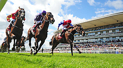 Deep Breath ridden by Pat Smullen (right) win The Galway Shopping Centre Irish EBF Nursery Handicap during Super Saturday of the Galway Summer Festival at Galway Racecourse.