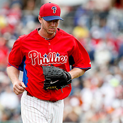 Mar 12, 2013; Clearwater, FL, USA; Philadelphia Phillies starting pitcher Roy Halladay (34) exits the game against the Detroit Tigers during the top of the third inning of a spring training game at Bright House Field. Mandatory Credit: Derick E. Hingle-USA TODAY Sports