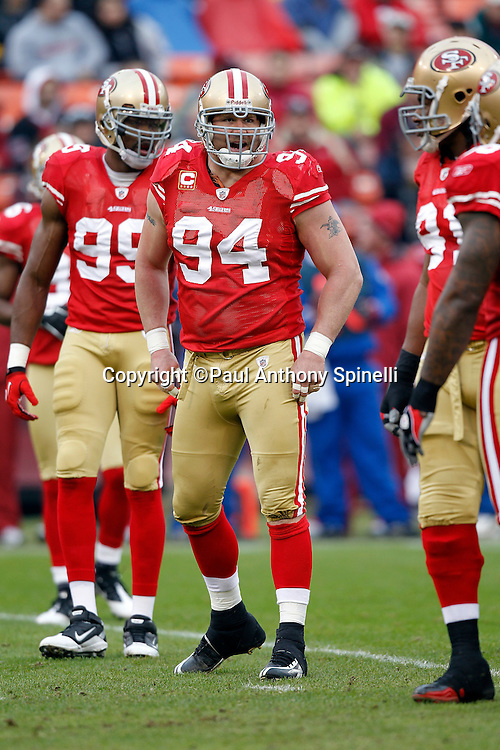 San Francisco 49ers defensive tackle Justin Smith (94) looks on during the NFL week 17 football game against the Arizona Cardinals on Sunday, January 2, 2011 in San Francisco, California. The 49ers won the game 38-7. (©Paul Anthony Spinelli)