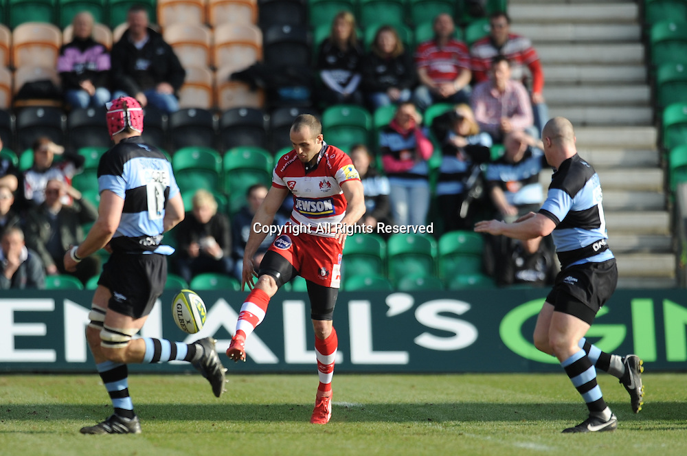 LV Cup Final Gloucester v Newcastle Franklin Gardens Northampton 20th March 2011. Gloucester won 34-7. Gloucester wing Charlie Sharples clears his lines