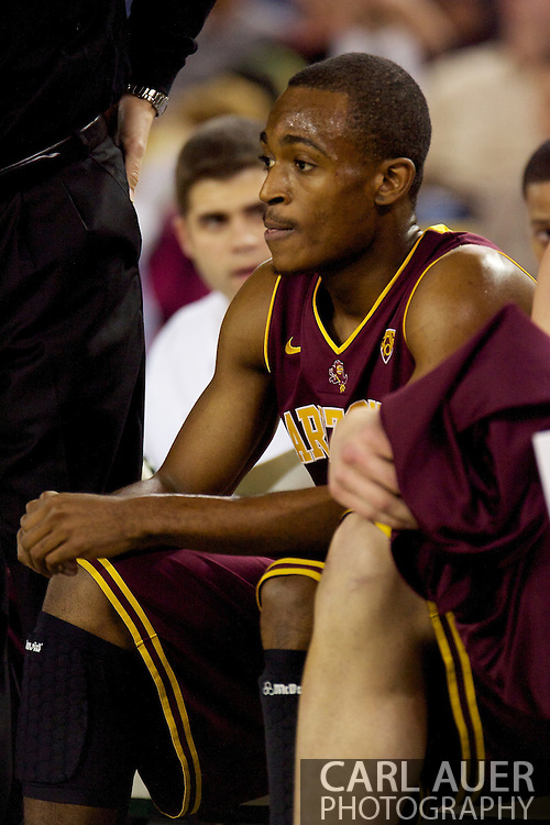 November 26th, 2010:  Anchorage, Alaska - Arizona State's Jamelle McMillan (10) sits on the bench during the Sun Devil's 59-58 victory over Weber State at the Great Alaska Shootout.  McMillan is the son of former Seattle Super Sonic and current Portland Trailblazer coach, Nate McMillan.