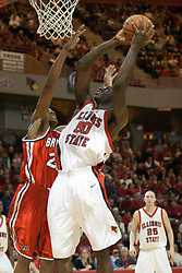 11 February 2006:  .Greg Dilligard heads for the nylon with Lawrence Wright on his flank..Illinois State Redbirds fall to the Bradley Braves at home in Redbird Arena in Normal Illinois.