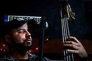 Tim Celfo on upright bass during Mason Porter's performance at Fergie's Pub in Philadelphia for Appel Farm's Festival Happy Hour.