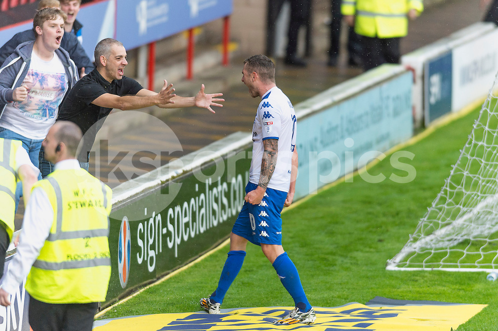 Danny Mayor of Bury celebrate scoring his sides equalising goal during the EFL Sky Bet League 1 match between Walsall and Bury at the Banks's Stadium, Walsall, England on 27 August 2016. Photo by Darren Musgrove.