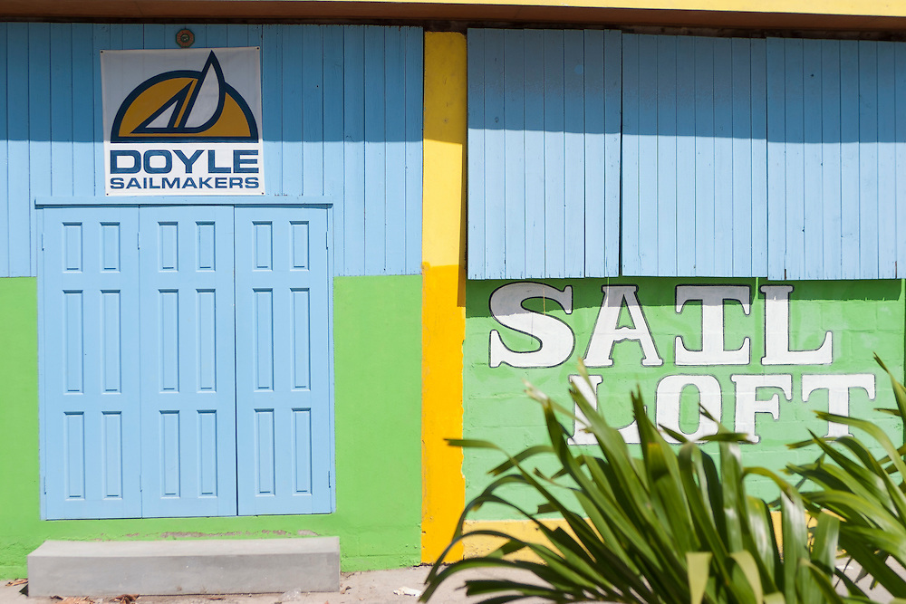 colorful front facade of sail shop in Admiralty Bay Bequia West Indies