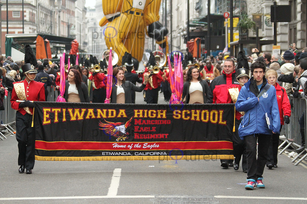 Etiwanda High School Marching Eagle Regiment London's New Year's Day Parade, City of Westminster, London, UK, 01 January 2011:  Contact: Ian@Piqtured.com +44(0)791 626 2580 (Picture by Richard Goldschmidt)