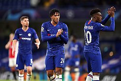 Chelsea's Reece James and Callum Hudson-Odoi (right) applaud the fans after the UEFA Champions League Group H match at Stamford Bridge, London.