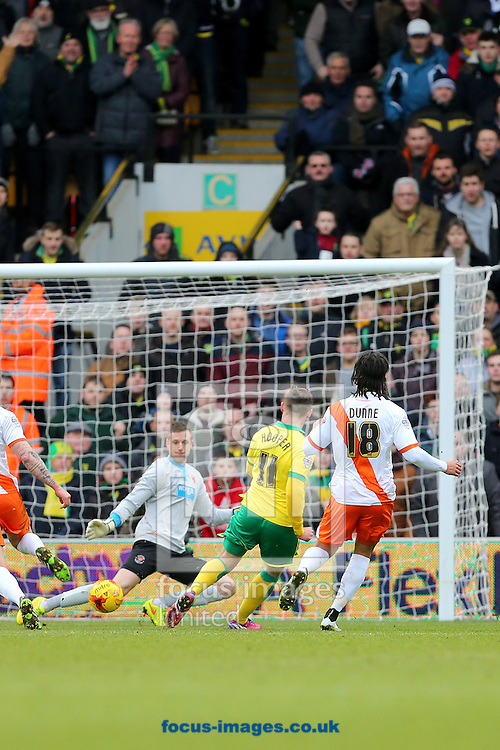 Gary Hooper of Norwich City scores the opening goal of the Sky Bet Championship match at Carrow Road, Norwich<br /> Picture by Richard Calver/Focus Images Ltd +447792 981244<br /> 07/02/2015