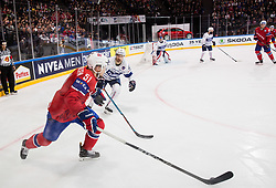 Mats Rosseli Olsen of Norway vs Florian Chakiachvili of France during the 2017 IIHF Men's World Championship group B Ice hockey match between National Teams of Norway and France, on May 6, 2017 in Accorhotels Arena in Paris, France. Photo by Vid Ponikvar / Sportida