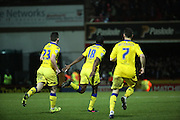 Leeds United attacker Mustapha Carayol wheeling away celebrating scoring equiliser during the Sky Bet Championship match between Brentford and Leeds United at Griffin Park, London, England on 26 January 2016. Photo by Matthew Redman.
