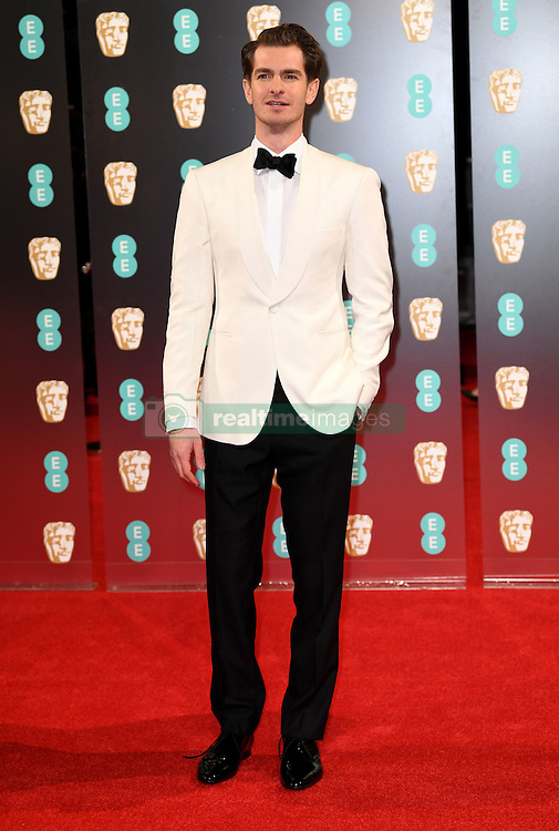 Andrew Garfield attending the EE British Academy Film Awards held at the Royal Albert Hall, Kensington Gore, Kensington, London. Picture date: Sunday February 12, 2017. Photo credit should read: Doug Peters/ EMPICS Entertainment