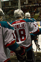 KELOWNA, CANADA - DECEMBER 27: Cody Fowlie #18 of the Kelowna Rockets heads for the ice at the start of third period against the  Kamloops Blazers at the Kelowna Rockets on December 27, 2012 at Prospera Place in Kelowna, British Columbia, Canada (Photo by Marissa Baecker/Shoot the Breeze) *** Local Caption ***