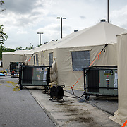 OCTOBER 24 - PONCE, PUERTO RICO - <br /> Temporary hospital tents set up outside the Ponce VA hospital which suffered damage due to the passing of Hurricane Maria.<br /> (Photo by Angel Valentin/Freelance)