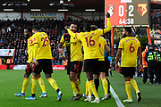 Goal - Troy Deeney (9) of Watford celebrates after he scores a goal to give a 0-2 lead during the Premier League match between Bournemouth and Watford at the Vitality Stadium, Bournemouth, England on 12 January 2020.
