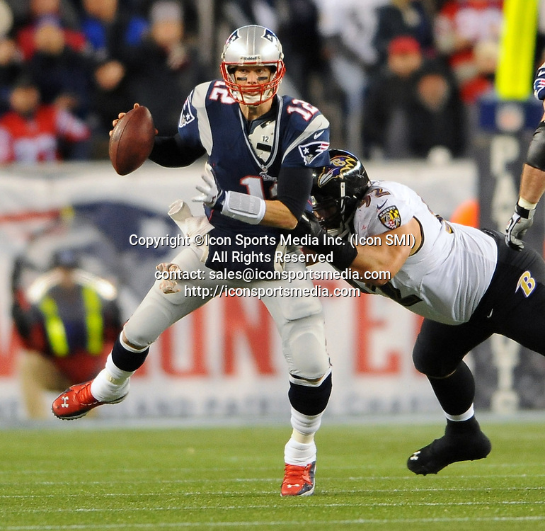 Jan. 20, 2013 - Foxboro, MA, USA - New England Patriots' Tom Brady is pressured by Baltimore Ravens' Haloti Ngata during the AFC Championship game at Gillette Stadium on Sunday, January 20, 2013, in Foxboro, Massachusetts