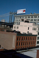 View of Manhattan Bridge from DUMBO Brooklyn rooftop New York