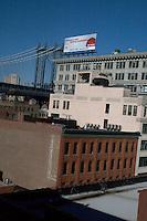 View of Manhattan Bridge from DUMBO Brooklyn rooftop New York