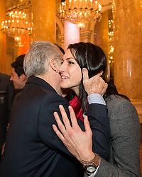 29.01.2014, Hofburg, Wien, AUT, Sochi 2014, Vereidigung OeOC, im Bild Bundespräsident Heinz Fischer und Janine Flock // Austrians President Heinz Fischer and Janine Flock during the swearing-in of the Austrian National Olympic Committee for Sochi 2014 at the  Hofburg in Vienna, Austria on 2014/01/29. EXPA Pictures © 2014, PhotoCredit: EXPA/ JFK