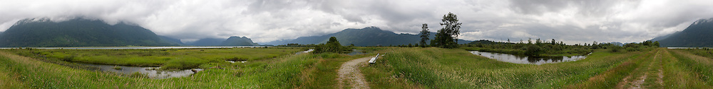 The trail along the Pitt Dike in Pitt Meadows, British Columbia, Canada