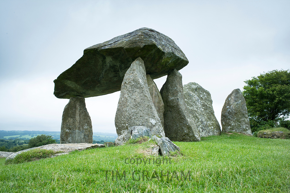 Neolithic dolmen burial chamber with large capstone Pentre Ifan in the civil parish of Nevern, Pembrokeshire, Wales.