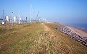Rock armour coastal defences protect the gas terminal at Easington, Yorkshire, England
